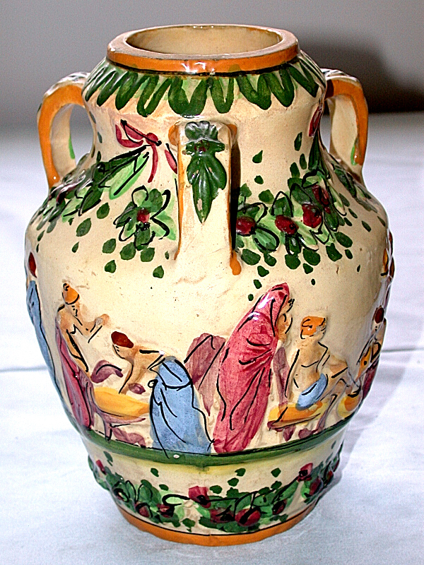 Beautiful Antique Capodimonte Italy Three Handle Vase Ebay