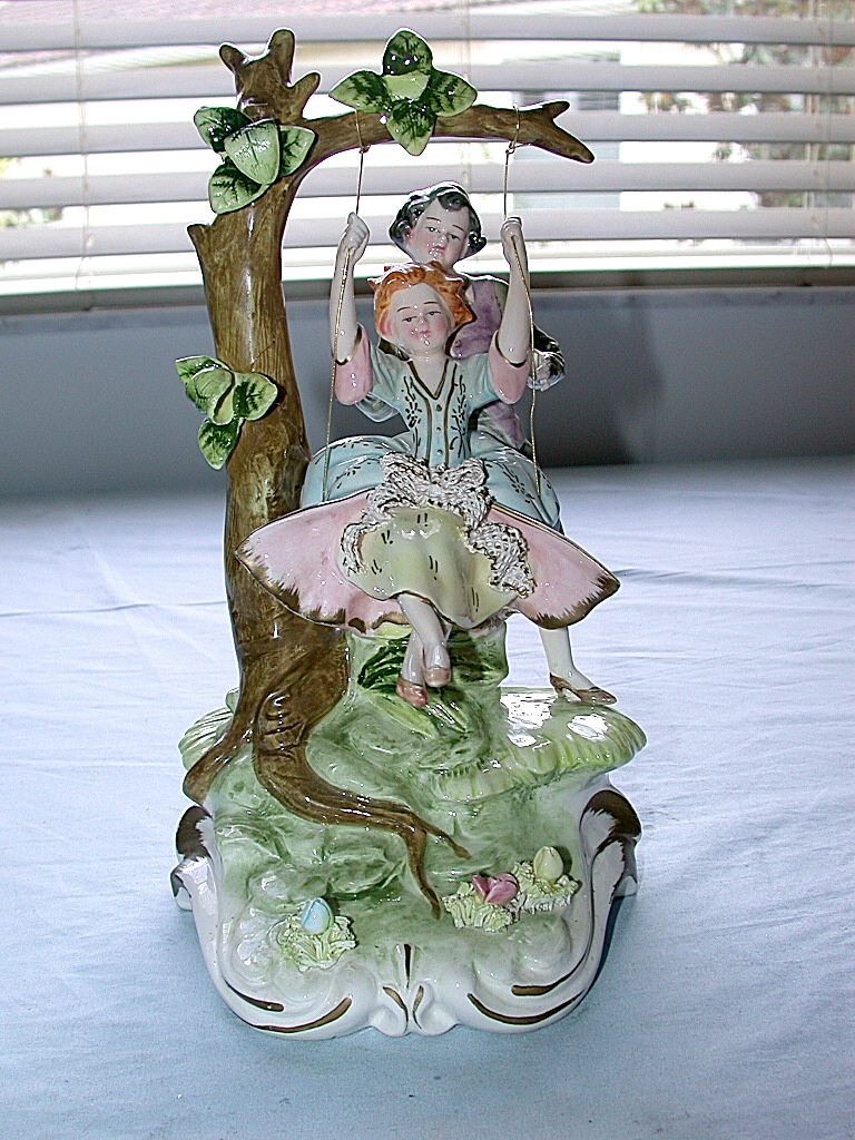 Antique Italian Capodimonte Artist Signed Boy Amp Girl On